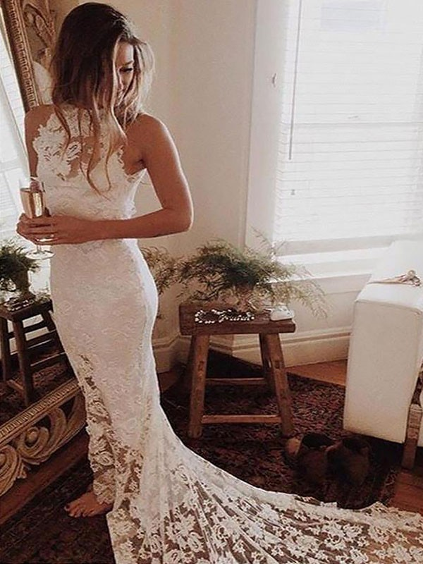 Trumpet/Mermaid Halter Sleeveless Chapel Train Lace Wedding Dresses