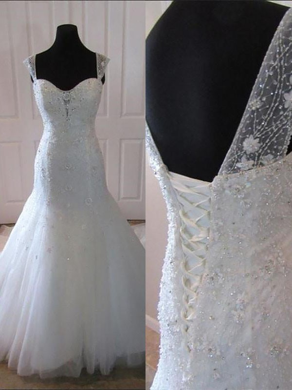 Trumpet/Mermaid Straps Sleeveless Court Train Tulle Wedding Dresses