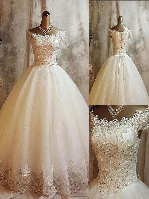 Ball Gown Applique Off-the-Shoulder Sleeveless Sweep/Brush Train Tulle Wedding Dresses