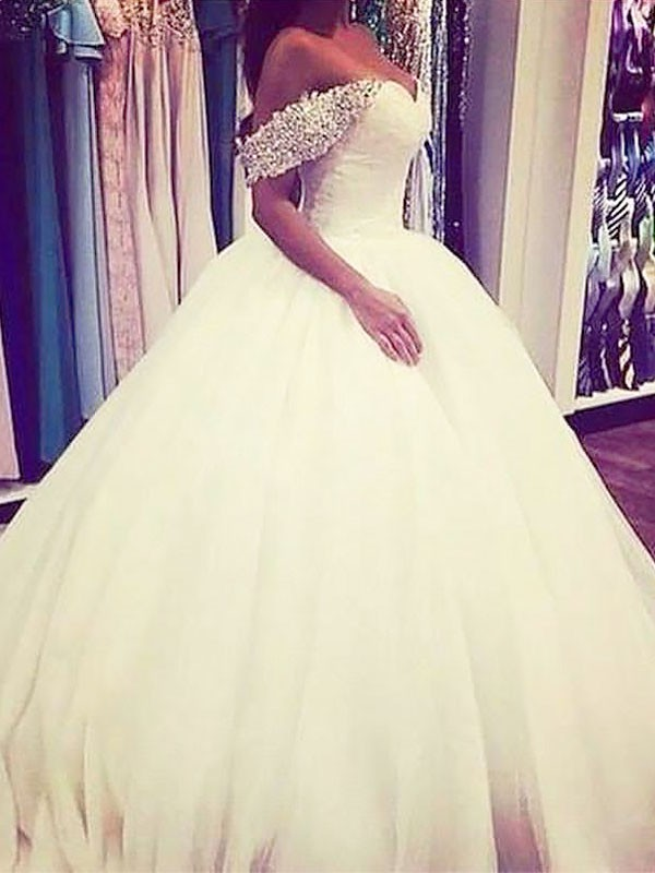 Ball Gown Beading Off-the-Shoulder Sleeveless Sweep/Brush Train Tulle Wedding Dresses