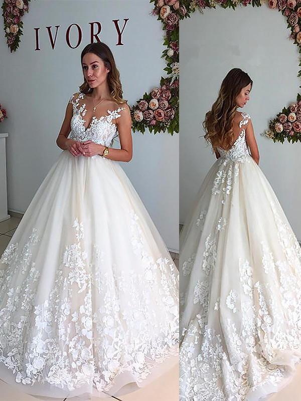 A-Line/Princess V-neck Sleeveless Court Train Tulle Wedding Dresses