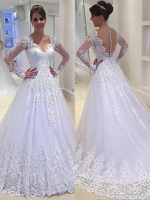 A-Line/Princess Applique V-neck Long Sleeves Court Train Tulle Wedding Dresses