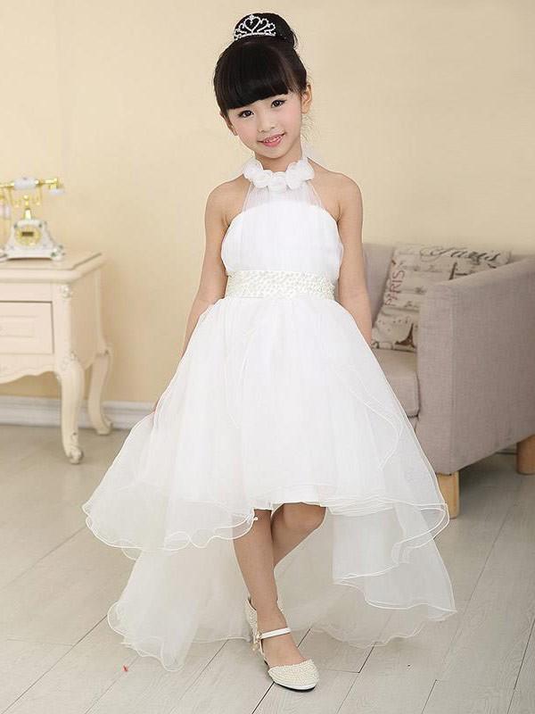 A-Line/Princess Beading High Neck Sleeveless Asymmetrical Organza Flower Girl Dresses