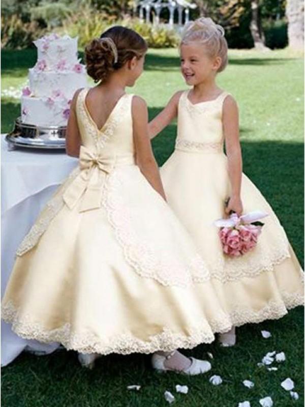 Ball Gown Bowknot Scoop Sleeveless Ankle-Length Satin Flower Girl Dresses