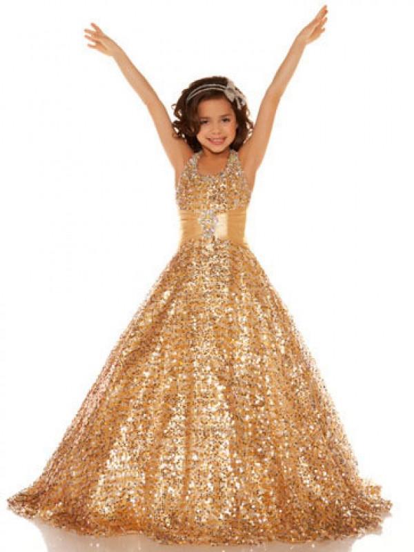 A-Line/Princess Sequin Halter Sleeveless Floor-Length Sequins Flower Girl Dresses