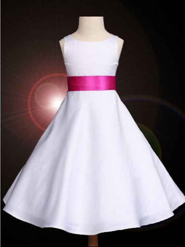 A-Line/Princess Bowknot Scoop Sleeveless Ankle-length Satin Flower Girl Dresses