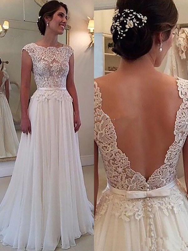 A-Line/Princess Applique Scoop Sleeveless Sweep/Brush Train Chiffon Wedding Dresses