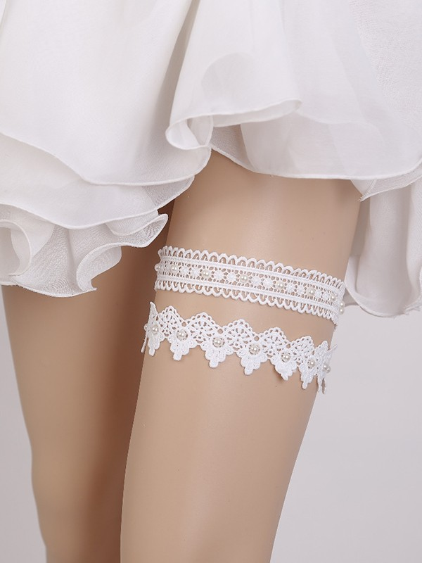 Graceful Bridal/Feminine Lace With Imitation Pearl Garters