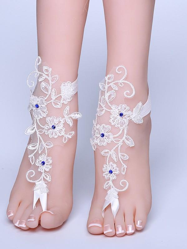 Graceful Bridal/Feminine Lace With Applique Anklets