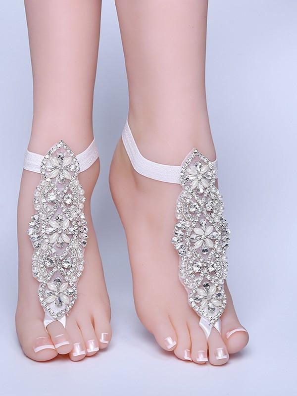 Gorgeous Bridal/Feminine Lace With Rhinestone Anklets