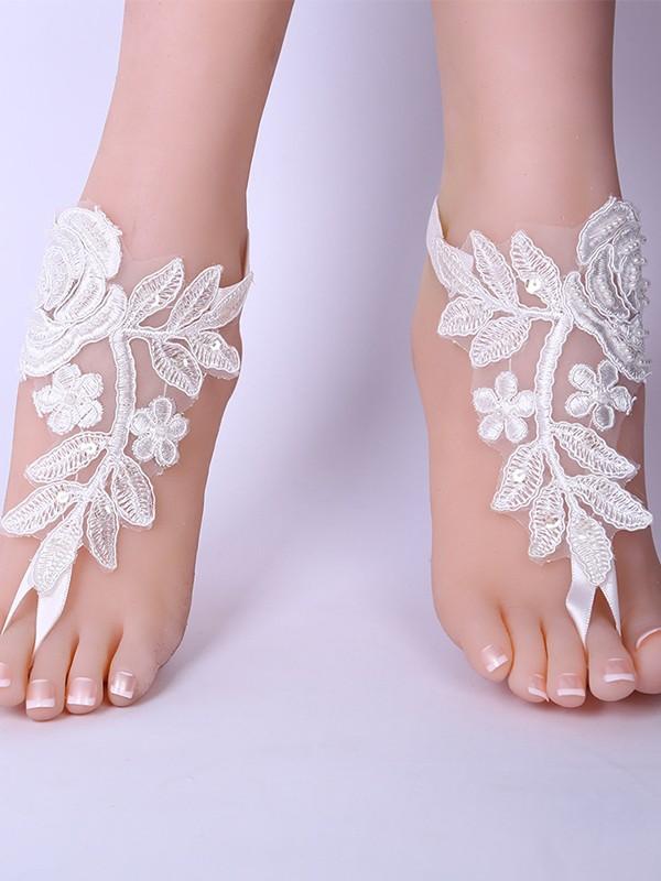 Unique Bridal/Feminine Lace With Applique Anklets