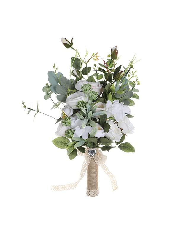 Free-Form Sweet Silk Flower Bridal Bouquets