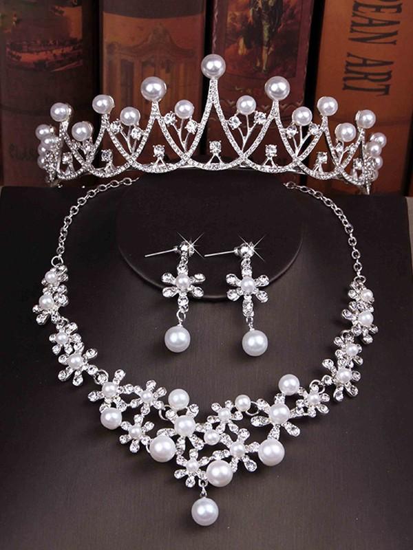 Glamorous Ladies'/Bridal Pearl With Rhinestone Jewelry Sets