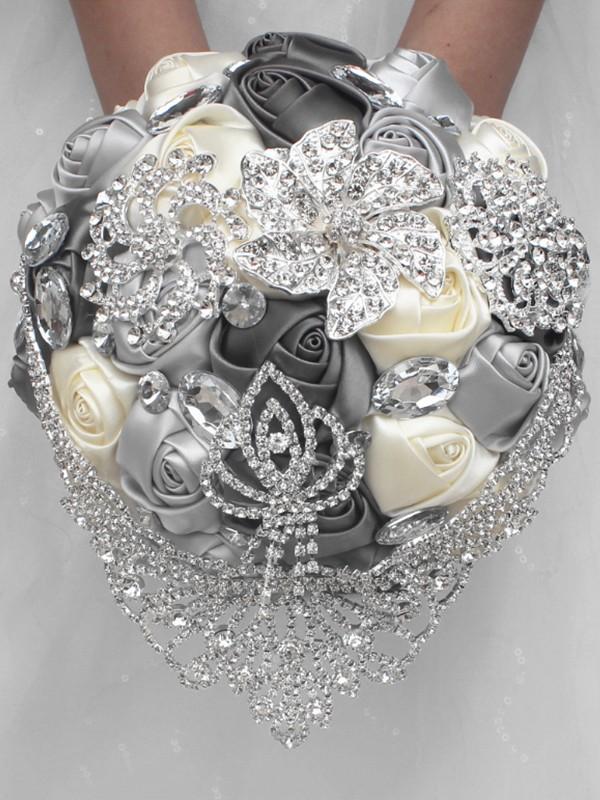 Luxurious Round Satin Bridal Bouquets