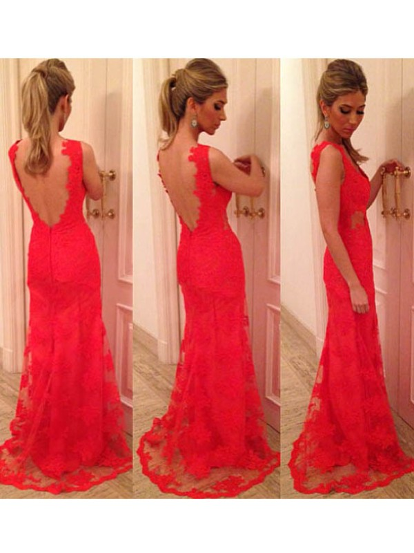 Trumpet/Mermaid Applique V-neck Sleeveless Floor-Length Lace Dresses
