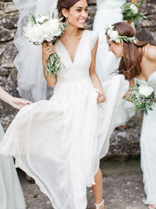 A-Line/Princess V-neck Sleeveless Floor-Length Ruffles Chiffon Wedding Dresses