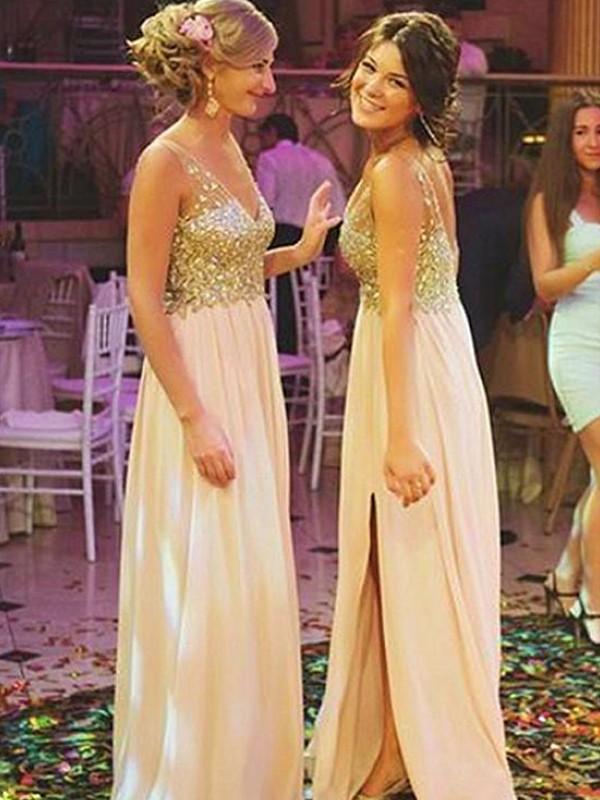 A-Line/Princess V-neck Sleeveless Sweep/Brush Train Sequin Chiffon Bridesmaid Dresses