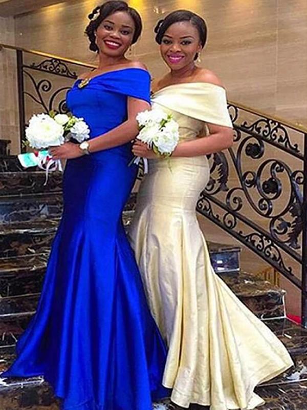 Trumpet/Mermaid Off-the-Shoulder Sleeveless Floor-Length Ruffles Satin Bridesmaid Dresses