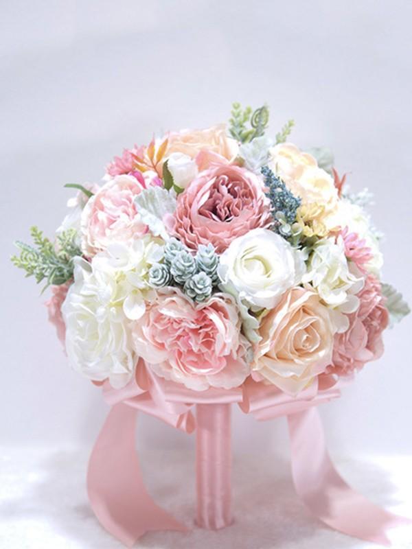 Delicate Round Silk Flower Bridal Bouquets