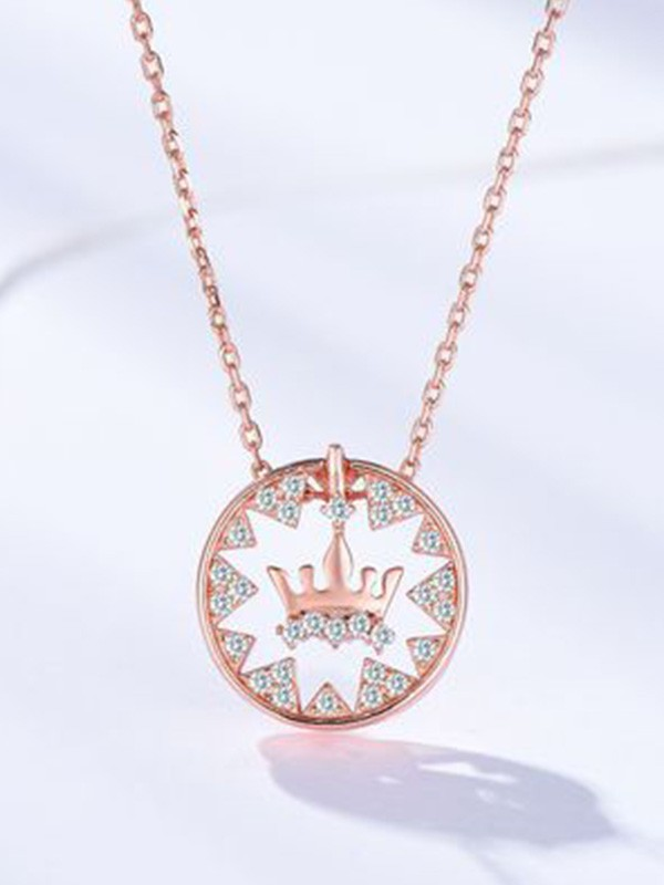 Fashion S925 Silver With Crown Women's Necklaces