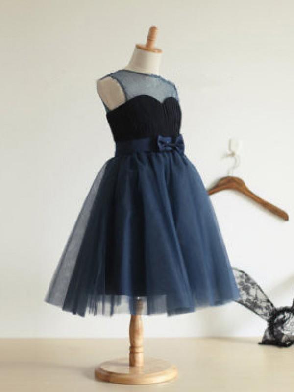 Ball Gown Bowknot Jewel Sleeveless Tea-length Tulle Flower Girl Dresses