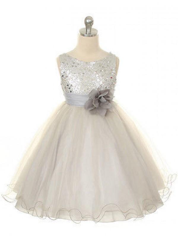 Ball Gown Hand-Made Flower Jewel Sleeveless Tea-Length Tulle Flower Girl Dresses
