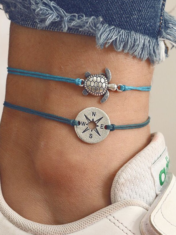 Simple Compass Tortoise Cord Anklets(2 pieces)