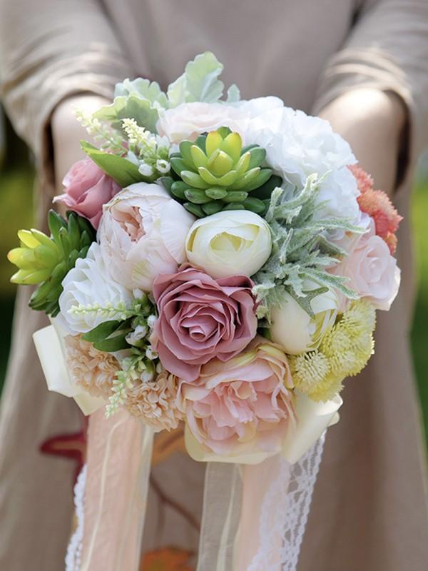 Cute Round Emulational Succulent Plant Bridal Bouquets