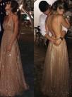 A-Line/Princess Paillette Tulle V-neck Floor-Length Sleeveless Dresses