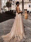 A-Line/Princess V-neck Tulle Sleeveless Ruched Sweep/Brush Train Dresses
